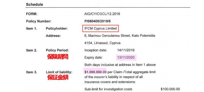 AIG保険証明書
